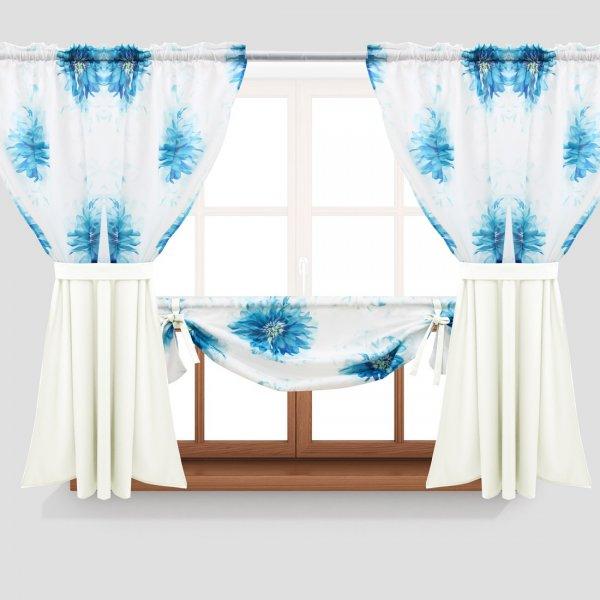 Zasłona GOTOWA ASTER FLOWER PANEL 691-04-404-02 lazurowy turkus ecru 2 x 145x160 1 x 145x130