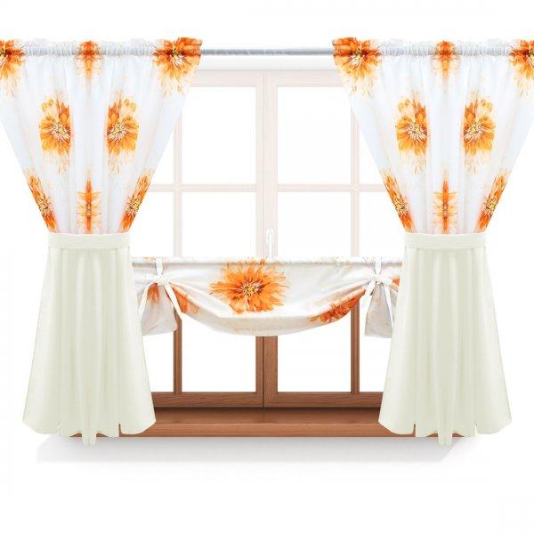 Zasłona GOTOWA ASTER FLOWER PANEL 691-03-404-02 pomarańczowy ecru 2 x 145x160 1 x 145x130