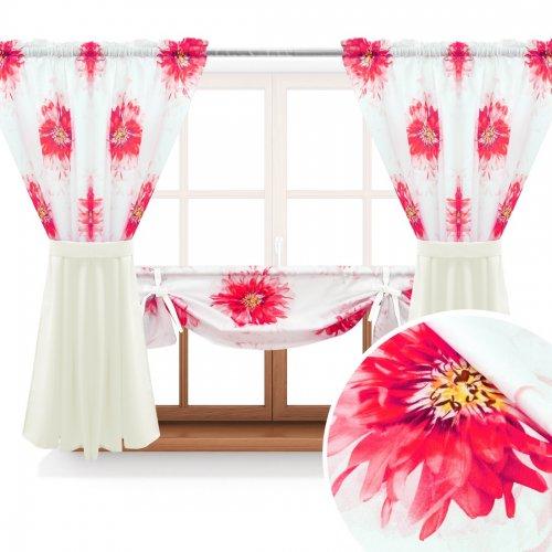 Zasłona GOTOWA ASTER FLOWER PANEL 691-01-404-02 różowy ecru 2 x 145x160 1 x 145x130