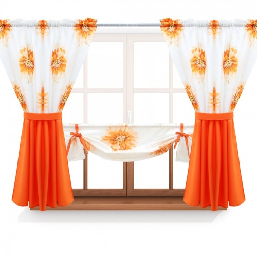 Zasłona GOTOWA ASTER FLOWER PANEL 691-03-404-06 pomarańczowy pomarańczowy 2 x 145x160 1 x 145x130