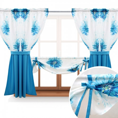 Zasłona GOTOWA ASTER FLOWER PANEL 691-04-404-85 lazurowy turkus lazurowy 2 x 145x160 1 x 145x130