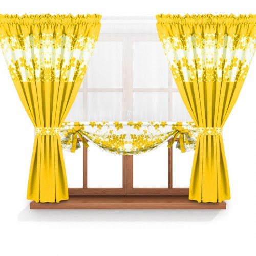 Zasłona GOTOWA BLOOM PRIME PANEL 168-05-404-05 żółty 2 x 145x160 1 x 145x130