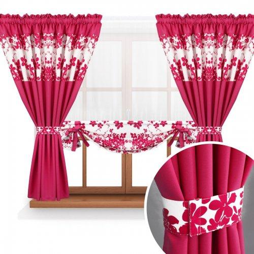 Zasłona GOTOWA BLOOM PRIME PANEL 168-43-404-11 fuksja róż mocny 2 x 145x160 1 x 145x130
