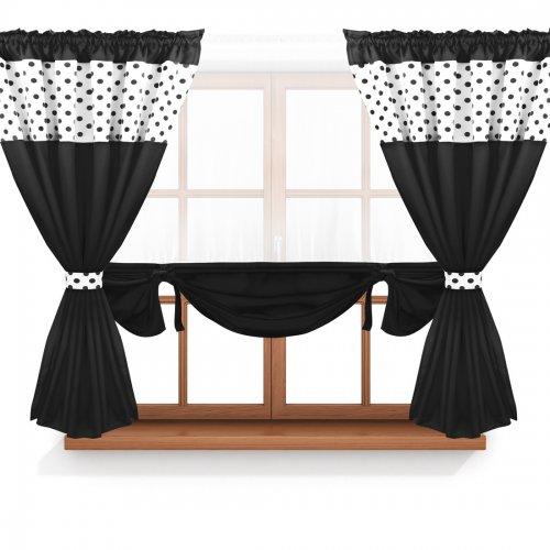 Zasłona GOTOWA CALIFORNIA PANEL 166-01-34-404-34 biały czarny 2 x 145x160 1 x 145x130