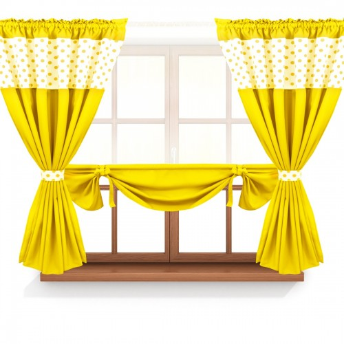 Zasłona GOTOWA CALIFORNIA PANEL 166-01-05-404-05 biały żółty 2 x 145x160 1 x 145x130