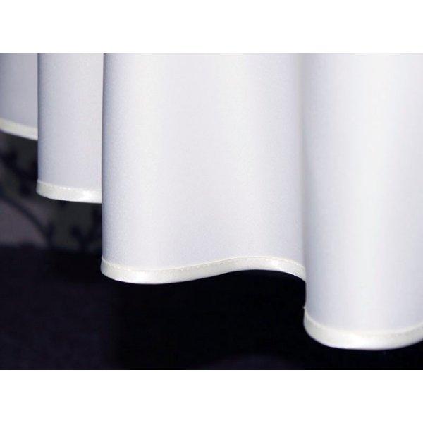 Obrusy okrągły exclusive z lamówką biały
