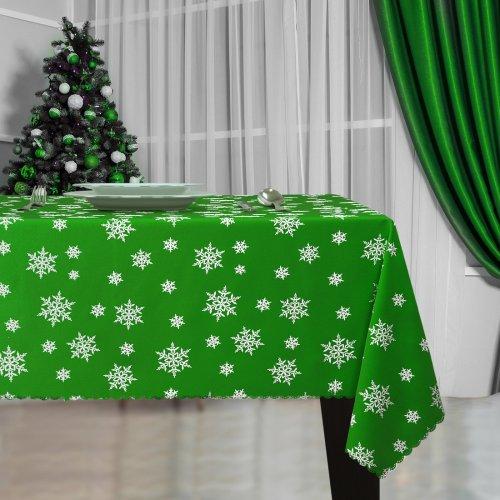 Obrus Świąteczny ŚNIEŻYNKA Boże Narodzenie 914-25-01 zielony biały