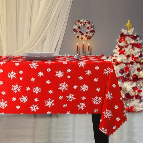 Obrus Świąteczny ŚNIEŻYNKA Boże Narodzenie 914-12-01 czerwony biały