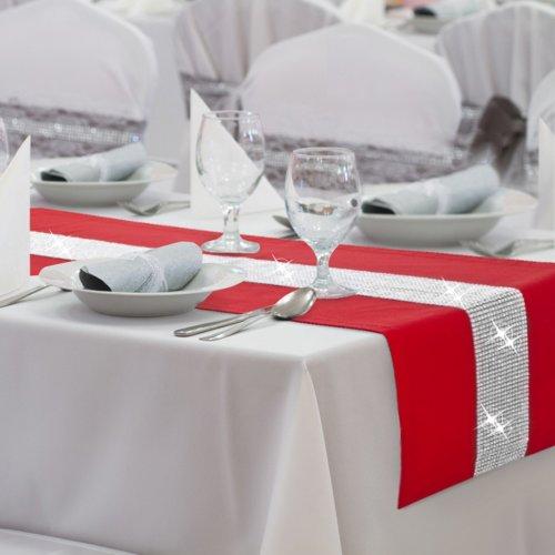 Bieżnik na stół GLAMOUR CYRKONIE 404-12 czerwony