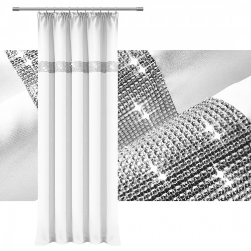 Zasłona HEAVEN TAŚMA CYRKONIA 140x250 404-01 biała