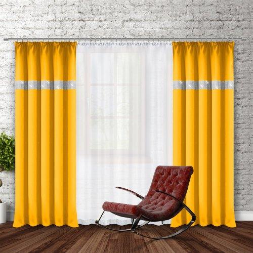 Zasłona HEAVEN TAŚMA CYRKONIA 140x250 404-05 żółty