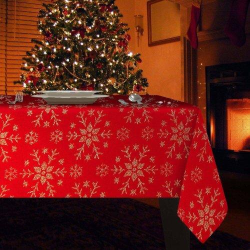 Obrus Świąteczny MERRY CHRISTMAS 298-12 czerwony złoty