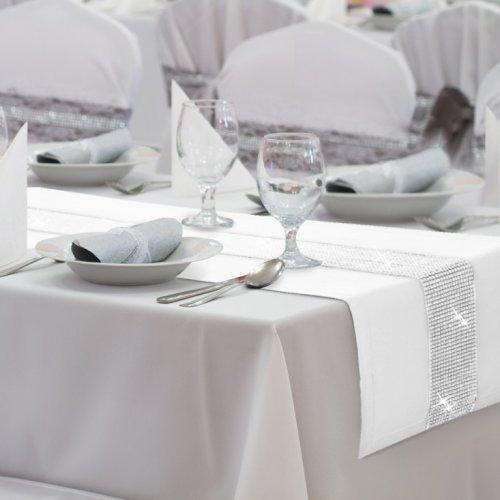 Bieżnik na stół GLAMOUR CYRKONIE 404-01 biały