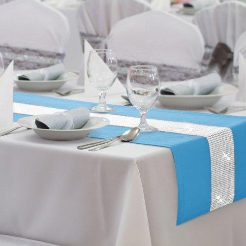 Bieżnik na stół GLAMOUR CYRKONIE 404-14 błękit
