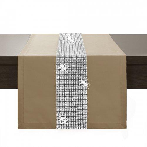 Bieżnik na stół GLAMOUR CYRKONIE 404-58 mocca