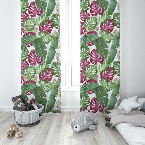 Zasłona gotowa na przelotkach D404-150-01 Liście Monstery Róż