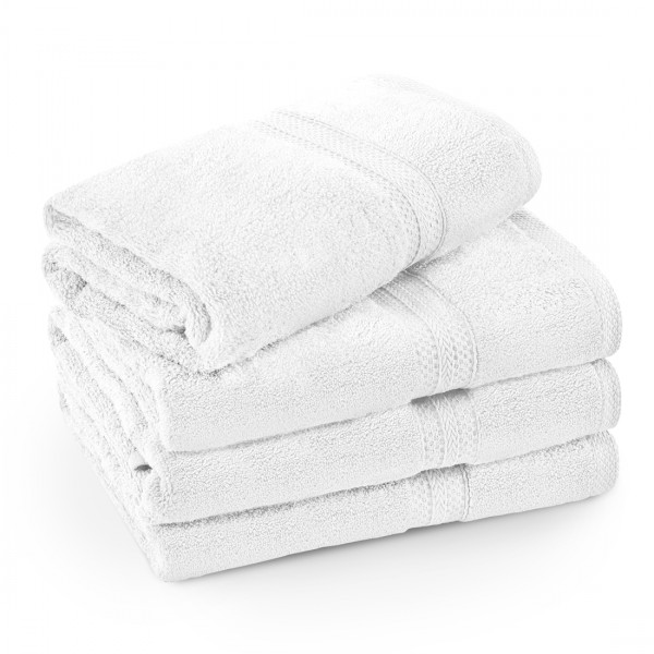 Komplet ręczników frotte KOMFORT 2 szt. 70x140 + 2 szt. 50x100 566-01 biały