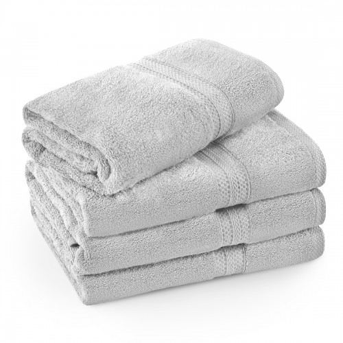 Komplet ręczników frotte KOMFORT 3 szt. 50x100 + 1 szt. 70x140 566-31 szary jasny