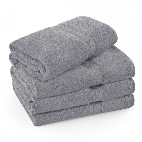 Komplet ręczników frotte KOMFORT 3 szt. 50x100 + 1 szt. 70x140 566-33 szary ciemny