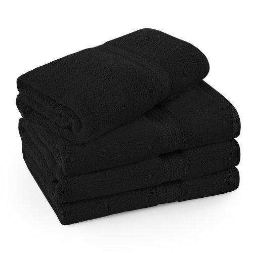 Komplet ręczników frotte KOMFORT 3 szt. 70x140 + 1 szt. 50x100 566-34 czarny