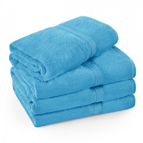 Komplet ręczników frotte KOMFORT 3 szt. 50x100 + 1 szt. 70x140 566-91 turkus jasny