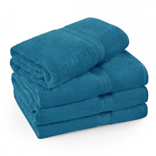 Komplet ręczników frotte KOMFORT 3 szt. 50x100 + 1 szt. 70x140 566-92 turkus ciemny