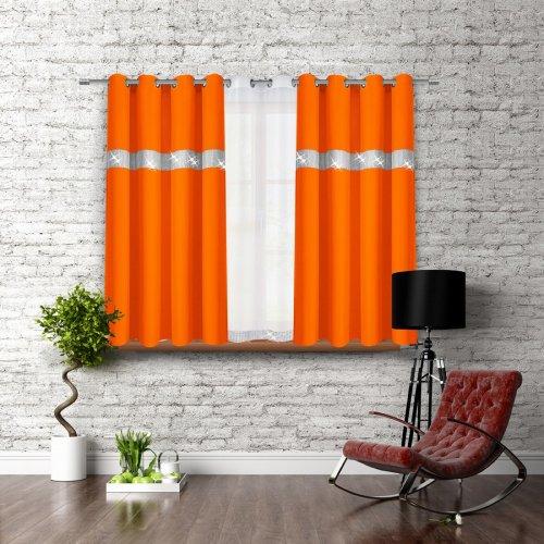 Zasłona CYRKONIE 140x160 na przelotkach 404-06 pomarańcz