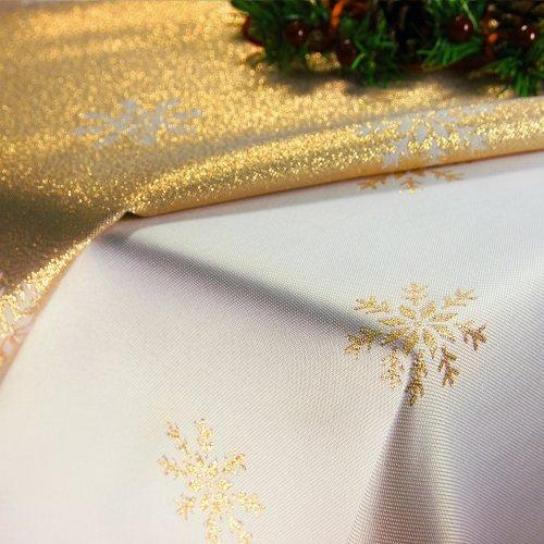 OUTLET Obrus Świąteczny CHRISTMAS SNOWFLAKE 459-63 biały złoty