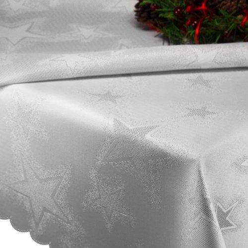 Obrus Świąteczny CHRISTMAS STAR 457-32 srebrny