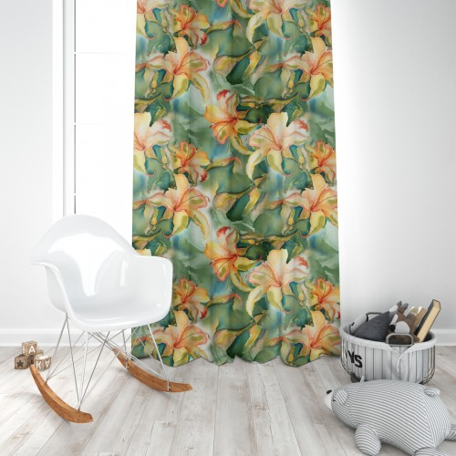 Zasłona gotowa na taśmie D404-115-01 Kwiaty Malowane Farbami