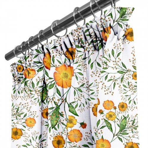 Zasłona gotowa na taśmie D404-181-01 Pomarańczowe Kwiatuszki