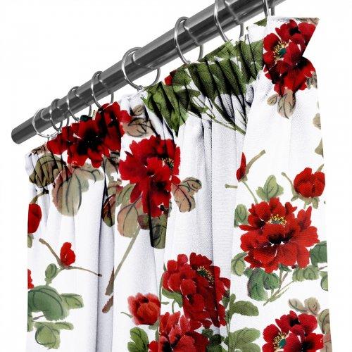Zasłona gotowa na taśmie D404-116-01 Czerwone Kwiaty