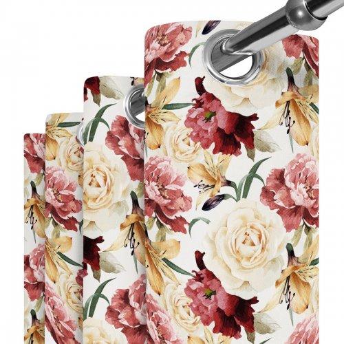 Zasłona gotowa na przelotkach D404-162-01 Duże Kwiaty