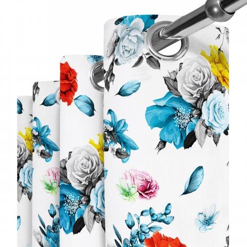 Zasłona gotowa na przelotkach D404-160-01 Rozsypane Kwiaty