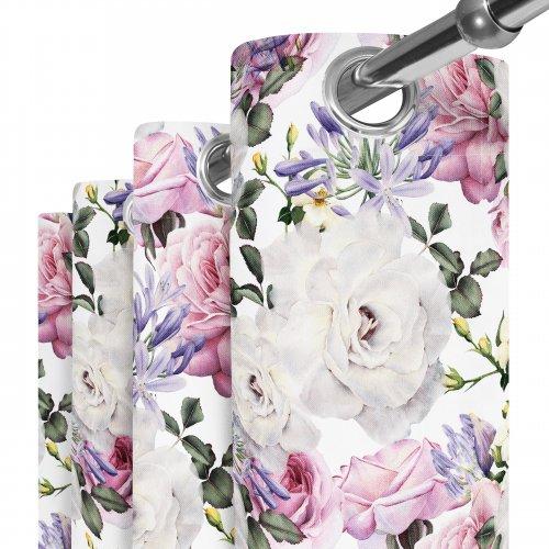 Zasłona gotowa na przelotkach D404-118-01 Kwiaty