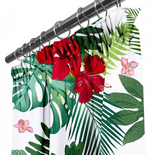 Zasłona gotowa na przelotkach D404-153-01 Kwiaty w Liściach Palm