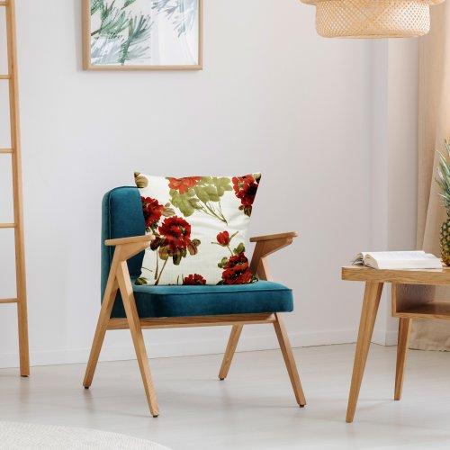 Poszewka dekoracyjna drukowana D404-116-01 czerwone kwiaty
