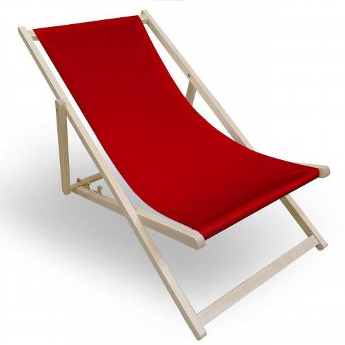 Leżak drewniany do ogrodu lub na plażę 599 434-10-99 czerwony jasny