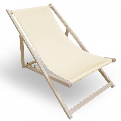 Leżak drewniany do ogrodu lub na plażę 599 434-16-02 ecru
