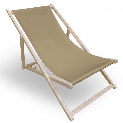 Leżak drewniany do ogrodu lub na plażę 599 434-21-36 beż ciemny