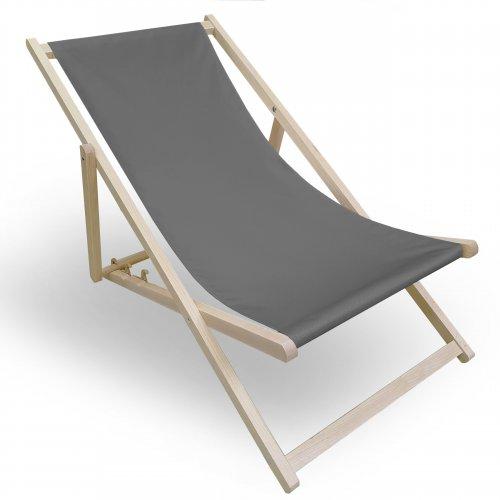 Leżak drewniany do ogrodu lub na plażę 599 434-23-33 szary ciemny