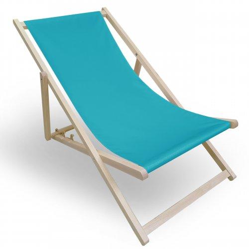 Leżak drewniany do ogrodu lub na plażę 599 434-26-91 turkus jasny