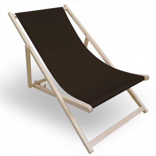 Leżak drewniany do ogrodu lub na plażę 599 434-27-29 brązowy ciemny