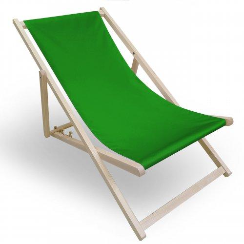 Leżak drewniany do ogrodu lub na plażę 599 434-31-25 zieleń trawiasta