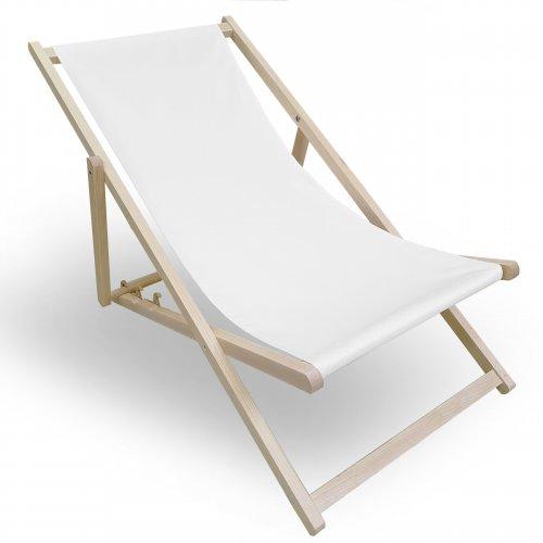 Leżak drewniany do ogrodu lub na plażę 599 434-33-01 biały