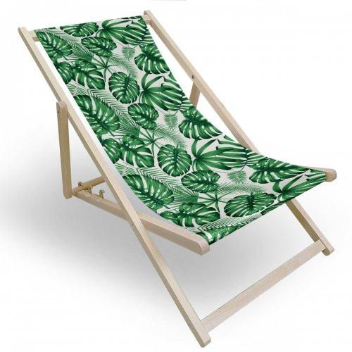 Leżak drewniany do ogrodu lub na plażę 599 434-100-01 liście monstera