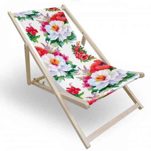 Leżak drewniany do ogrodu lub na plażę 599 434-102-01 kwiaty