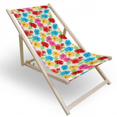 Leżak drewniany do ogrodu lub na plażę 599 434-108-01 kwiatuszki