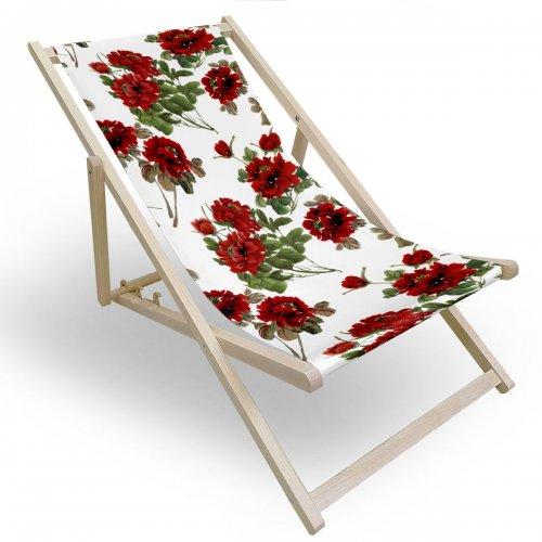 Leżak drewniany do ogrodu lub na plażę 599 434-116-01 czerwone kwiaty