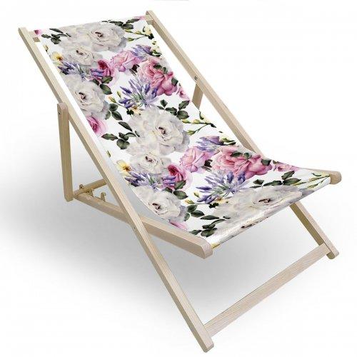 Leżak drewniany do ogrodu lub na plażę 599 434-118-01 kwiaty